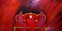 El bebe en el sofá rojo | Oleo sobre lienzo 130x97cm 2350€