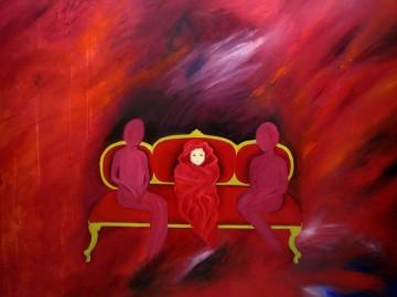 El bebe en el sofá rojo