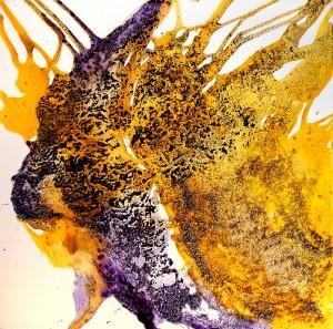 Sueño violeta y amarillo | Técnica mixta sobre lienzo 70x70cm 750€